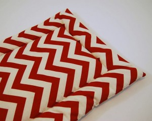 Chevron Cat Bed in Red and Cream / Catnip Infused Pad / Zig Zag Stripes