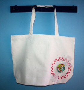 "Canvas Tote Bag - Doily Design w/ Fabric Flower - 17 1/2"" x 13"""