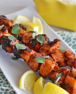 Sriracha Glazed Chicken Skewers via Kitchen Meets Girl