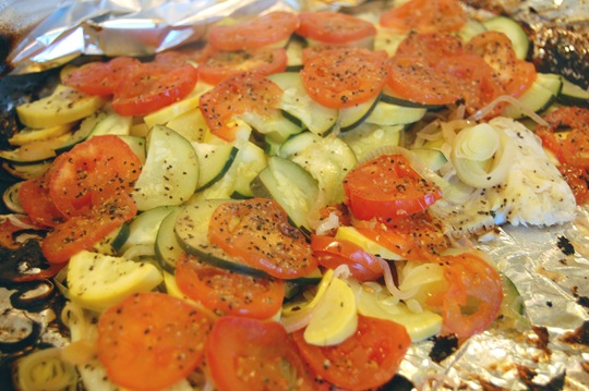 tilapia with veggies in foil done