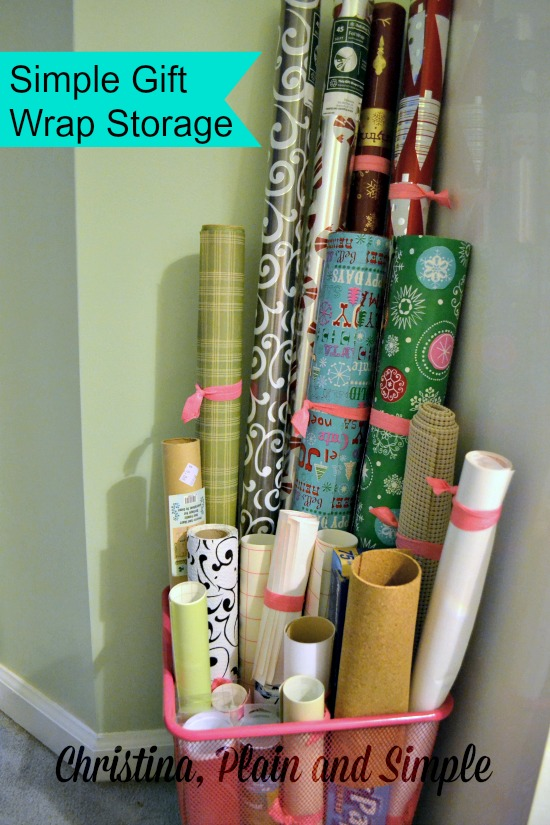 simple gift wrap storage ideas