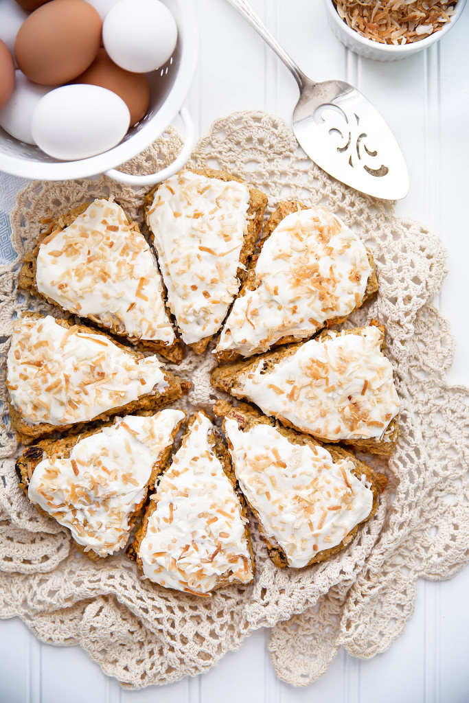 Carrot Cake Scones with Coconut Cream Cheese Frosting / Broma Bakery